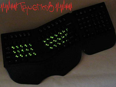 Включенная подсветка символов на клавишах